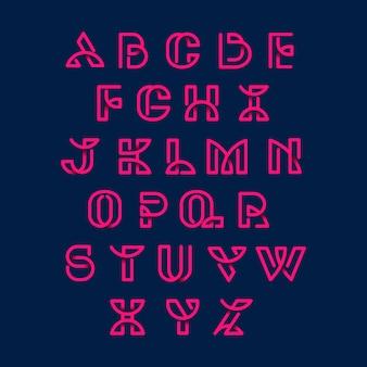Conjunto de vectores de alfabetos retro rosa