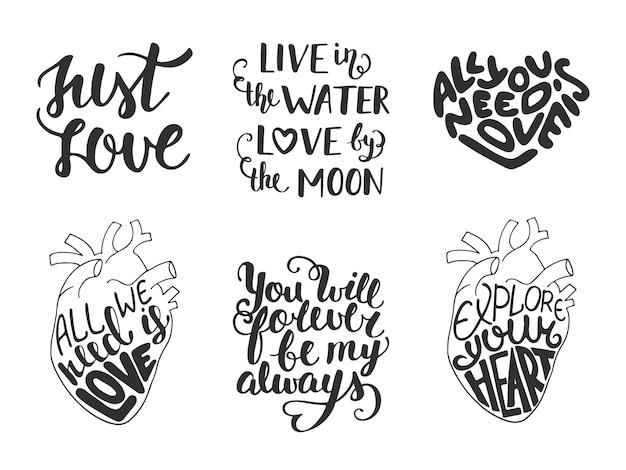 Conjunto de vectores amor romántico letras