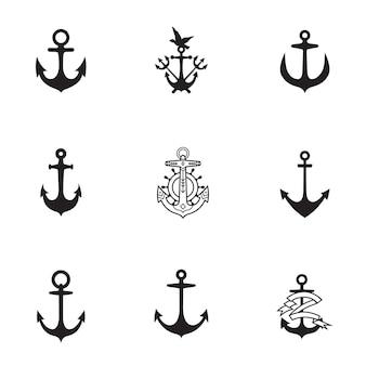 Conjunto de vectores de ancla. la ilustración de forma de ancla simple, elementos editables, se puede utilizar en el diseño de logotipos