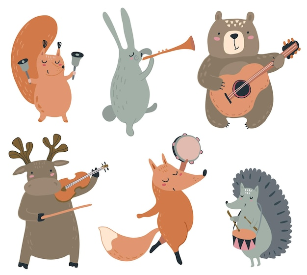 Conjunto de vectores de animales del bosque salvaje dibujados a mano con instrumentos musicales