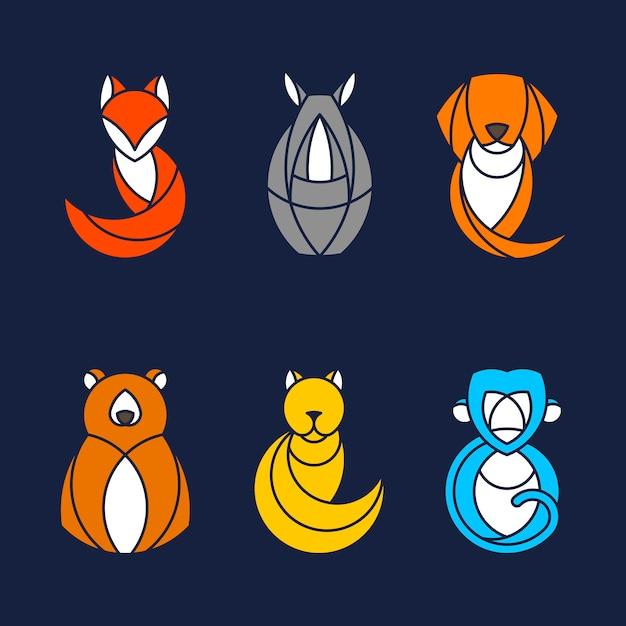 Conjunto de vectores animales coloridos