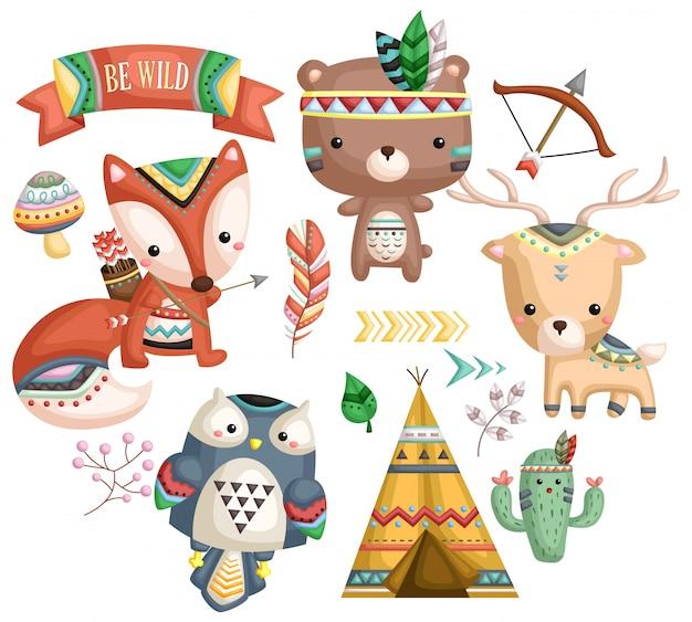 Conjunto de vectores animales tribales