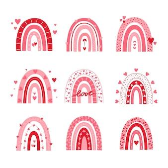 Conjunto de vectores de arco iris de san valentín aislado en un fondo blanco.