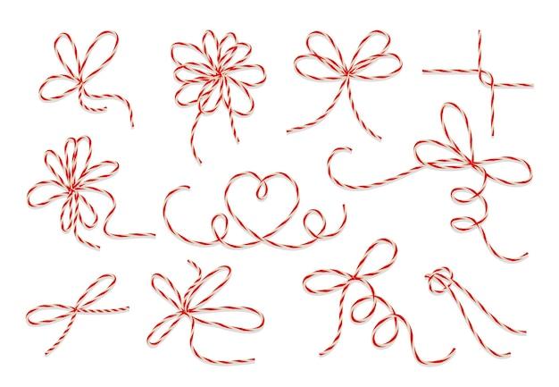 Conjunto de vectores de arcos de hilo de regalo. bucle de nudo de cadena para decoración presente cumpleaños o ilustración navideña