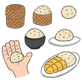 Conjunto de vectores de arroz pegajoso