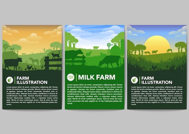 Conjunto de vectores de banner de granja