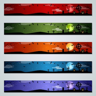 Conjunto de vectores de banners de halloween