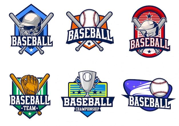 Conjunto de vectores de béisbol insignia
