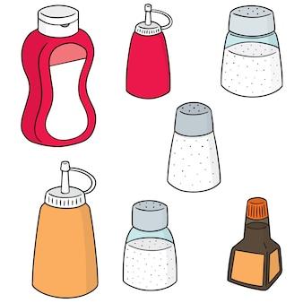 Conjunto de vectores de botellas de condimento