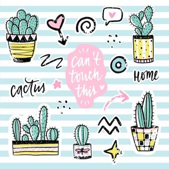 Conjunto de vectores con cactus, frases positivas, elementos. cactus lindo vector