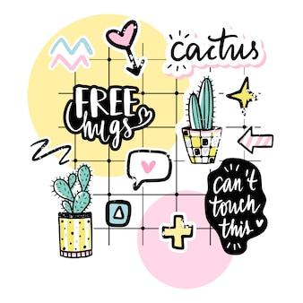 Conjunto de vectores con cactus, frases positivas, elementos.