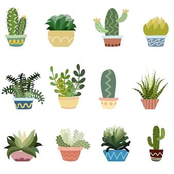 Conjunto de vectores de cactus en macetas
