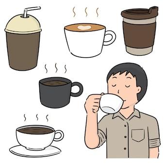 Conjunto de vectores de cafe