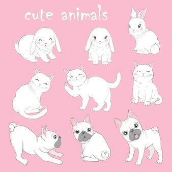 Conjunto de vectores con carteles de animales.