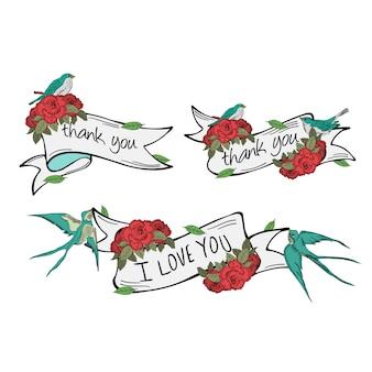Conjunto de vectores de cinta con golondrinas y rosas