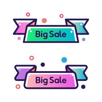Conjunto de vectores de cinta plana forma contorno trazo promoción banners
