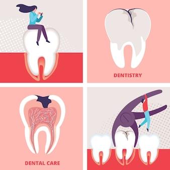 Conjunto de vectores de clínica de estomatología odontología