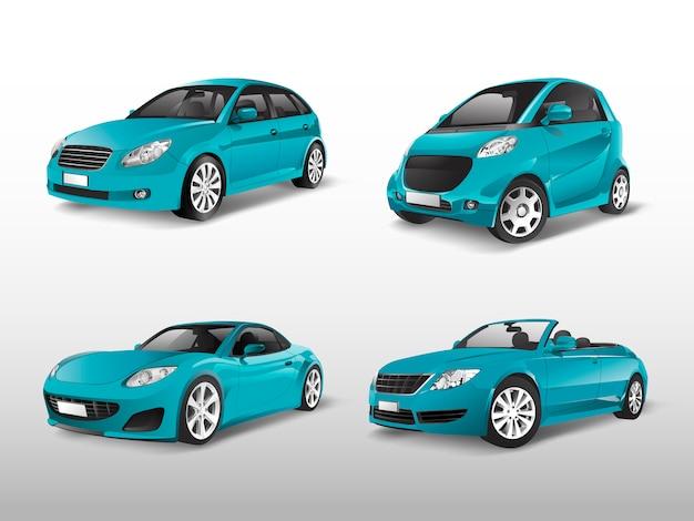 Conjunto de vectores de coche azul