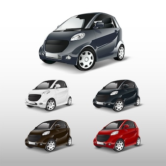 Conjunto de vectores de coches híbridos compactos