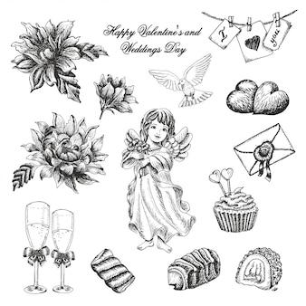 Conjunto de vectores de la colección del día de bodas