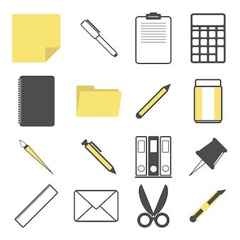 Conjunto de vectores de colección de iconos de papelería como pluma