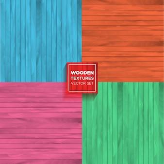 Conjunto de vectores de color de texturas de madera realistas.