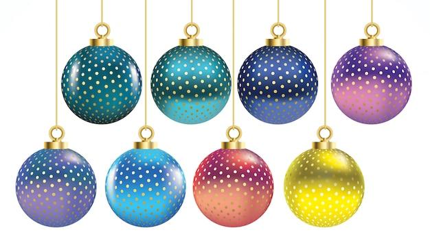 Conjunto de vectores coloridas bolas de navidad con adornos