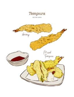 Conjunto de vectores de comida japonesa tempura
