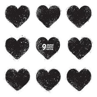 Conjunto de vectores de corazones de grunge
