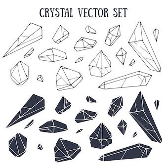 Conjunto de vectores de cristal con letras