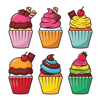 Conjunto de vectores de cupcake ilustración