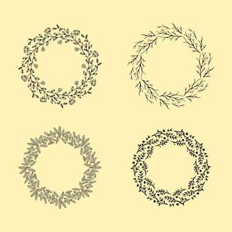 Conjunto de vectores dibujados a mano alrededor de coronas florales. elemento de diseño de marco de círculo floral