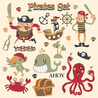 Conjunto de vectores de dibujos animados lindos piratas