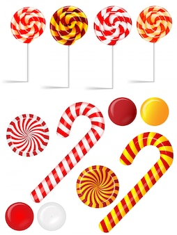 Conjunto de vectores con diferentes caramelos rojos y blancos