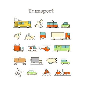 Conjunto de vectores de diferentes iconos de color de línea delgada. transporte