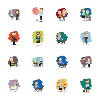 Conjunto de vectores de diferentes personas