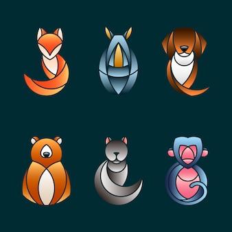 Conjunto de vectores de diseño animal lindo