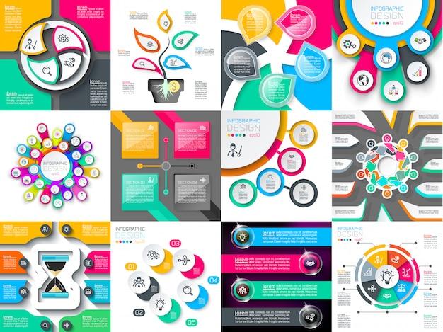 Conjunto de vectores de diseño infográfico utilizado para el diseño de flujo de trabajo.