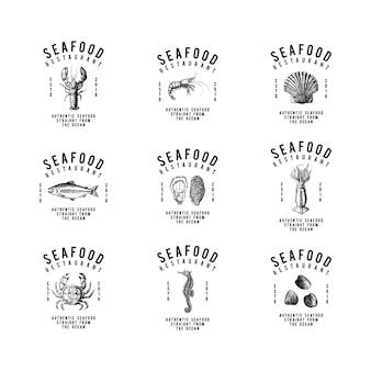 Conjunto de vectores de diseño de logotipo de mariscos