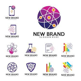 Conjunto de vectores de diseño de logotipo physics labs