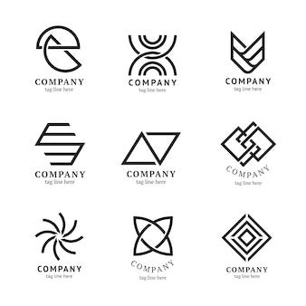 Conjunto de vectores de diseño de marca mínima de plantilla de logotipo de empresa