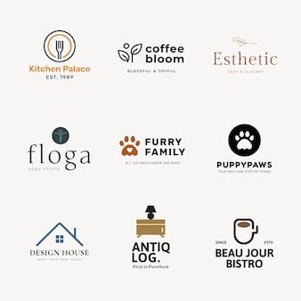 Conjunto de vectores de diseño de marca profesional de plantilla de logotipo de empresa