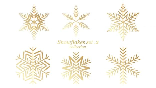 Conjunto de vectores diseño de navidad de copos de nieve