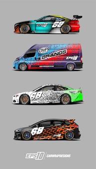Conjunto de vectores de diseños de envoltura de coche