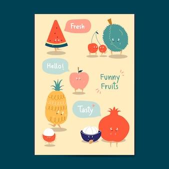 Conjunto de vectores de divertidos dibujos animados de frutas pegatinas