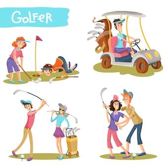 Conjunto de vectores de divertidos personajes de dibujos animados de golfistas