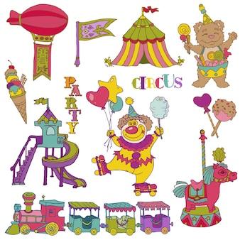 Conjunto de vectores: elementos de circo vintage - garabatos dibujados a mano