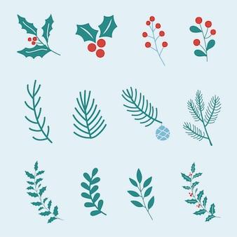 Conjunto de vectores de elementos de diseño de navidad
