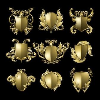 Conjunto de vectores de elementos de escudo barroco dorado