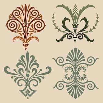 Conjunto de vectores de elementos ornamentales griegos